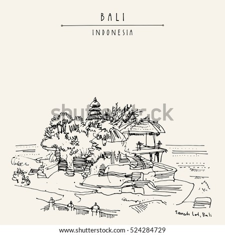 tanah lot balinese hindu temple in bali indonesia asia hand drawing travel