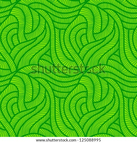 Tangled green seamless pattern - stock vector