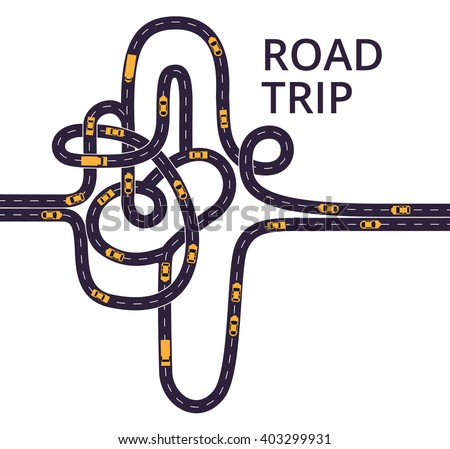 Tangled roads with cars and trucks on the white background. Curvy asphalt roads, with lanes separated with middle white dashed line.  - stock vector
