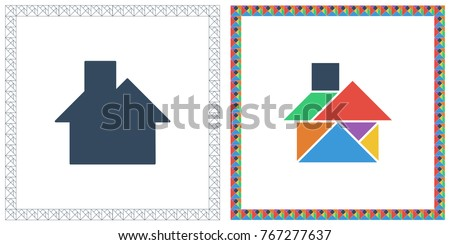 tangram brain game house riddle and answer flat ui color vector illustration