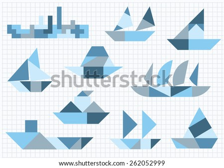 Tangram many ships on a white background