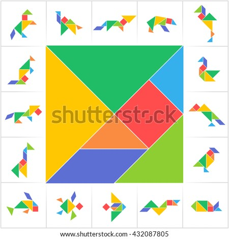 Tangram set, cut and play. Square, animals, birds, fish. Collection of printable tangram solution cards. Traditional Chinese puzzle tangram, learning game for kids, children, geometric shapes. Vector - stock vector