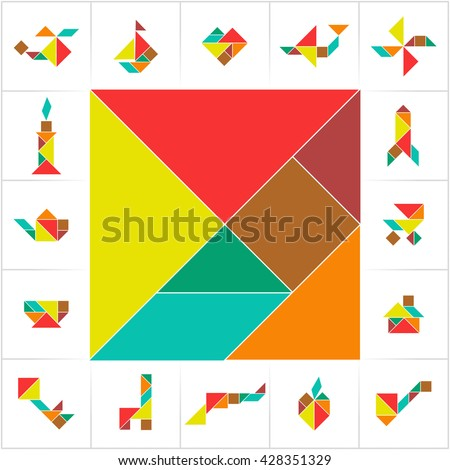 ... shapes. Learning game for kids, ancient Chinese puzzle. Vector