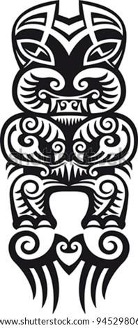 Taniwha the monster. Maori styled tattoo design. Vector illustration. - stock vector