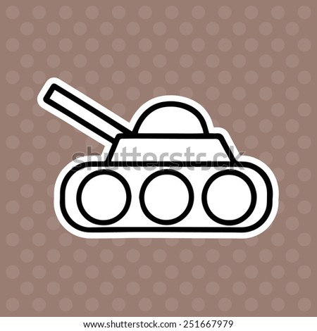 Tank cartoon illustration isolated on brown background without color - stock vector