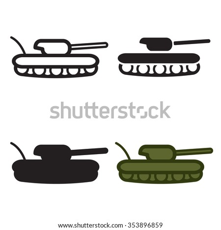 Tank icon in four variations. Colored and black/white. Vector eps10. - stock vector
