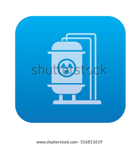 Tank,industry icon on blue background,clean vector