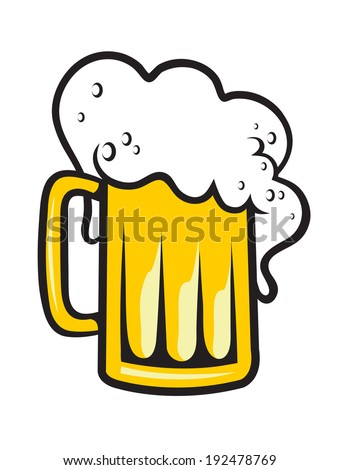 Tankard of golden lager, ale or beer with a frothy head overflowing the glass isolated on white - stock vector