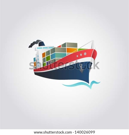 Tanker / Cargo ship with containers icon, vector illustration - stock vector
