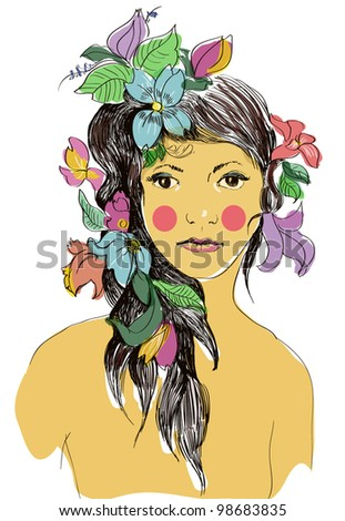 Tanned girl with flowers in hair