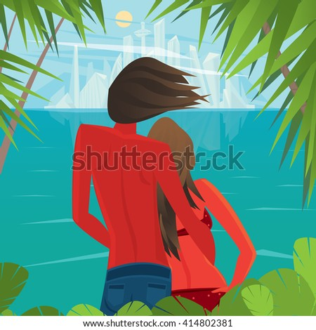 Tanned man and woman standing on the shore of the island and look at the futuristic city in the distance - Civilization or Better life concept. Vector illustration - stock vector
