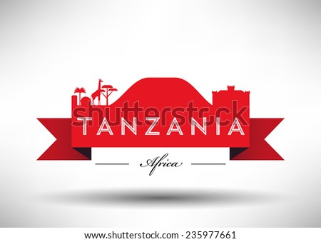 Tanzania Skyline with Typography Design - stock vector