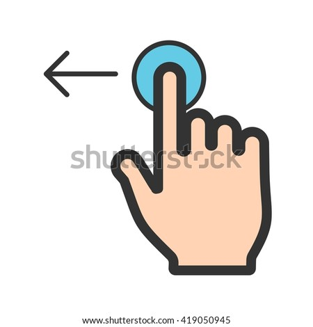 Tap and Move Left - stock vector