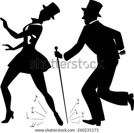 Tap dance performers in stage costume and top hats vector silhouette, no white - stock vector