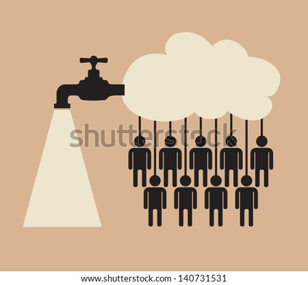 tap of crowdsourcing cloud service - stock vector