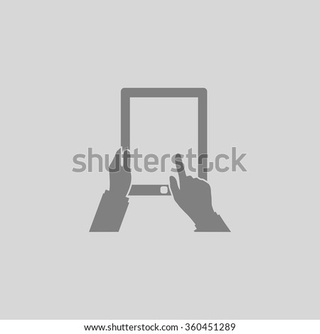 Tap Tablet - Grey flat icon on gray background - stock vector
