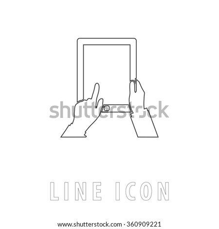Tap Tablet Outline simple vector icon on white background. Line pictogram with text  - stock vector