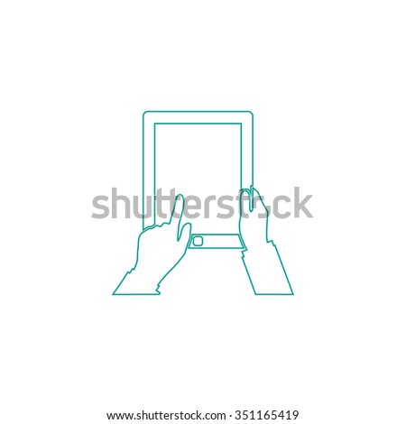 Tap Tablet Outline vector icon on white. Line symbol pictogram  - stock vector