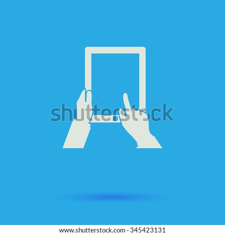 Tap Tablet White flat vector simple icon on blue background with shadow  - stock vector