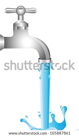 tap water over white background. vector illustration - stock vector