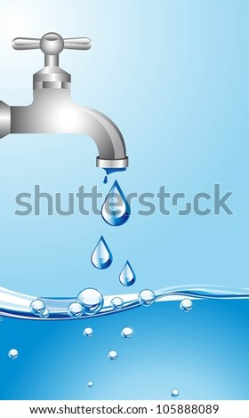 tap water with water background. vector illustration - stock vector