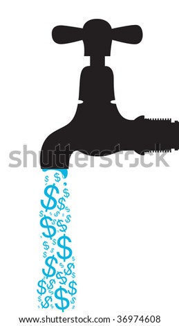 tap with dollar signs dripping out - stock vector