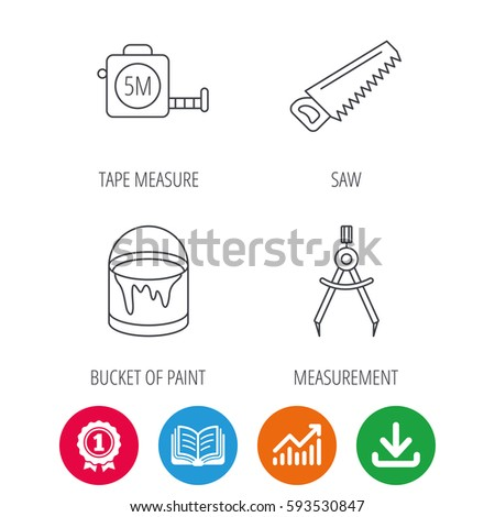 Tape Measure Saw Bucket Paint Icons Stock Vector 593530847