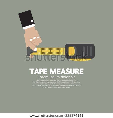 Tape Measure With Man's Hand Vector Illustration - stock vector