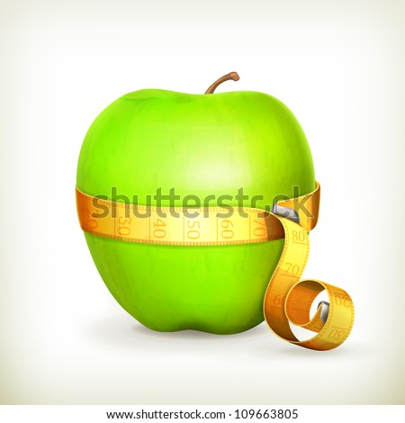 Tape measurement and green apple, vector - stock vector