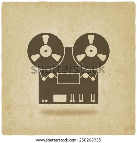 tape recorder old background - vector illustration. eps 10 - stock vector