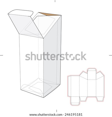 Tapered Top Box with Die Cut Template - stock vector