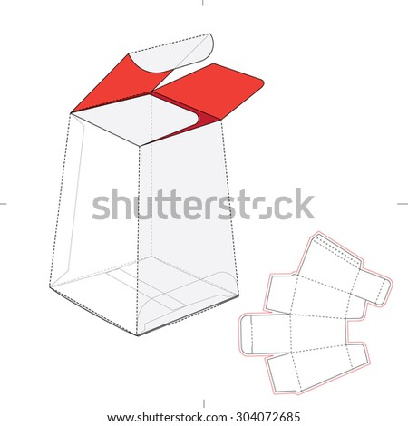 Tapered tube box wirh blueprint die line - stock vector
