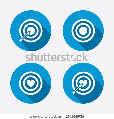 Target aim icons. Darts board with heart and arrow signs symbols. Circle concept web buttons. Vector - stock vector