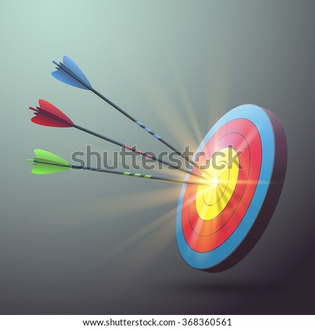 Target aim with arrows and light effect - stock vector