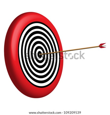 target and arrow against white background, abstract vector art illustration