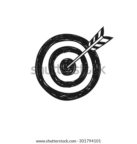 Target and arrow icon vector  doodle style, isolated.  - stock vector