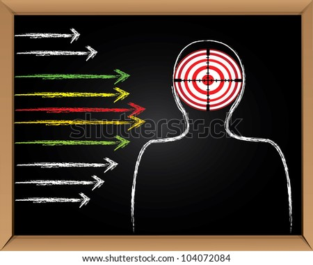 Target and arrows on blackboard background,Vector