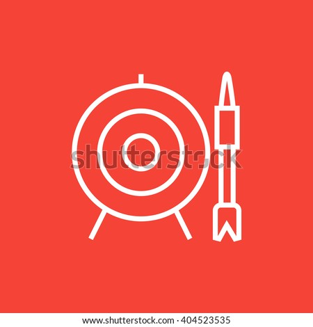 Target board and arrow line icon. - stock vector