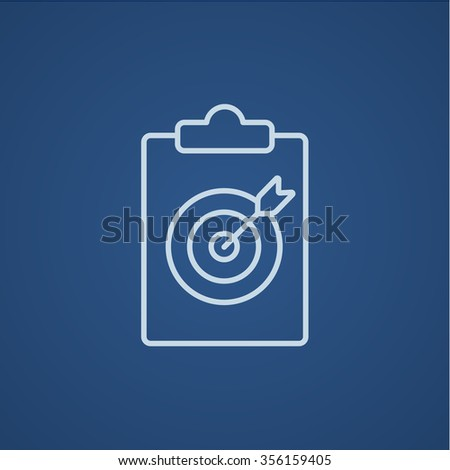 Target board and arrow line icon for web, mobile and infographics. Vector light blue icon isolated on blue background. - stock vector