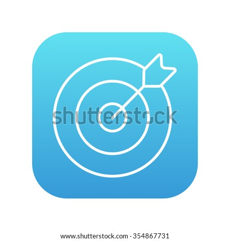 Target board and arrow line icon for web, mobile and infographics. Vector white icon on the blue gradient square with rounded corners isolated on white background. - stock vector