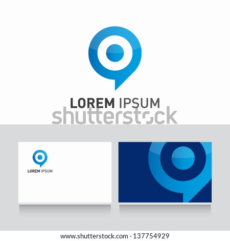 target bubble icon vector design elements with business card template editable - stock vector