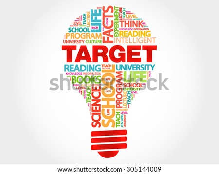 TARGET bulb word cloud, business concept - stock vector
