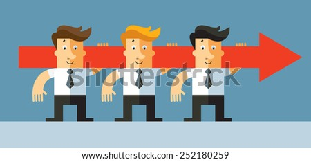 Target. Businessmen carry red arrow in teamwork concept. Business flat vector illustration. - stock vector