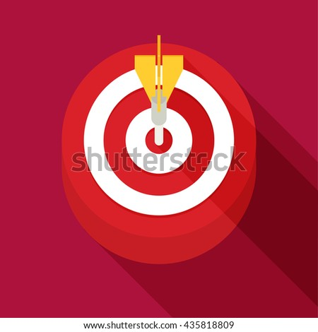 Target Concept Icon. Flat Vector Icon With Long Shadow Design Collection. - stock vector