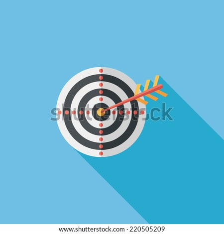 target flat icon with long shadow,eps10 - stock vector