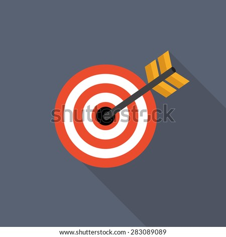 Target Flat Icon with Long Shadow, Vector Illustration Eps10 - stock vector