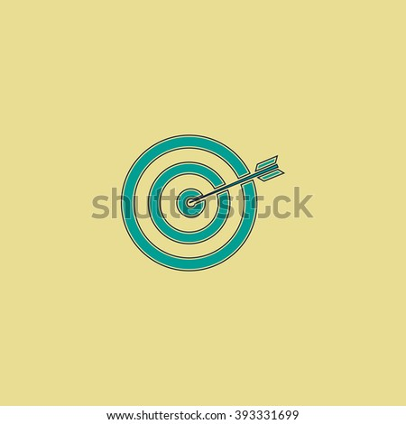 target Flat line icon on yellow background. Vector pictogram with stroke