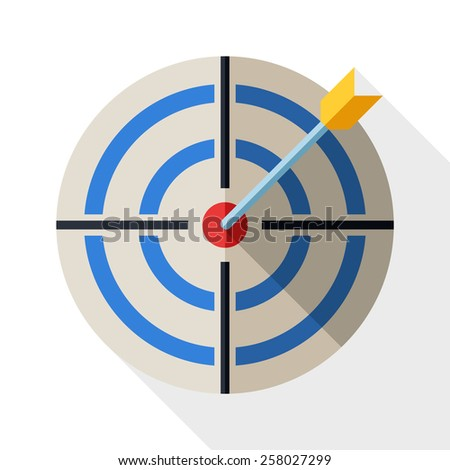 Target icon in flat style with dart and long shadow on white background - stock vector