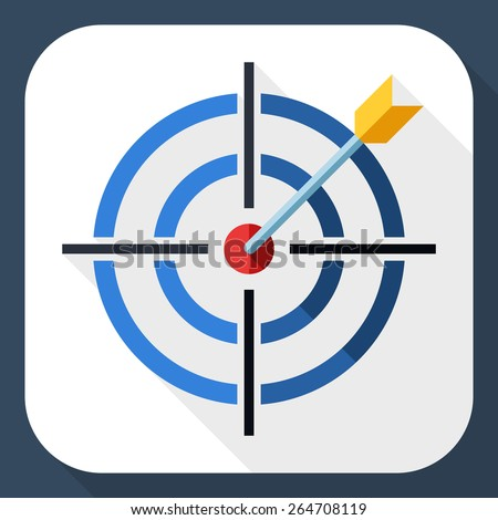 Target icon with dart and long shadow - stock vector