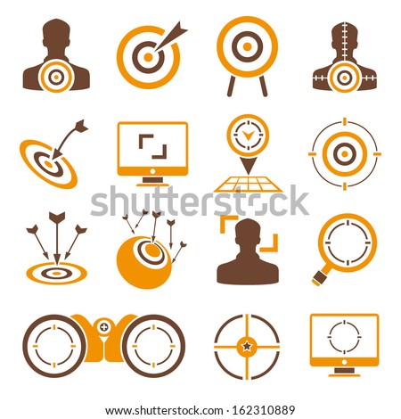 target icons, dart icons, orange color theme - stock vector